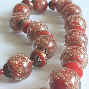 Antique Art Deco Crimson Red Venetian Necklace